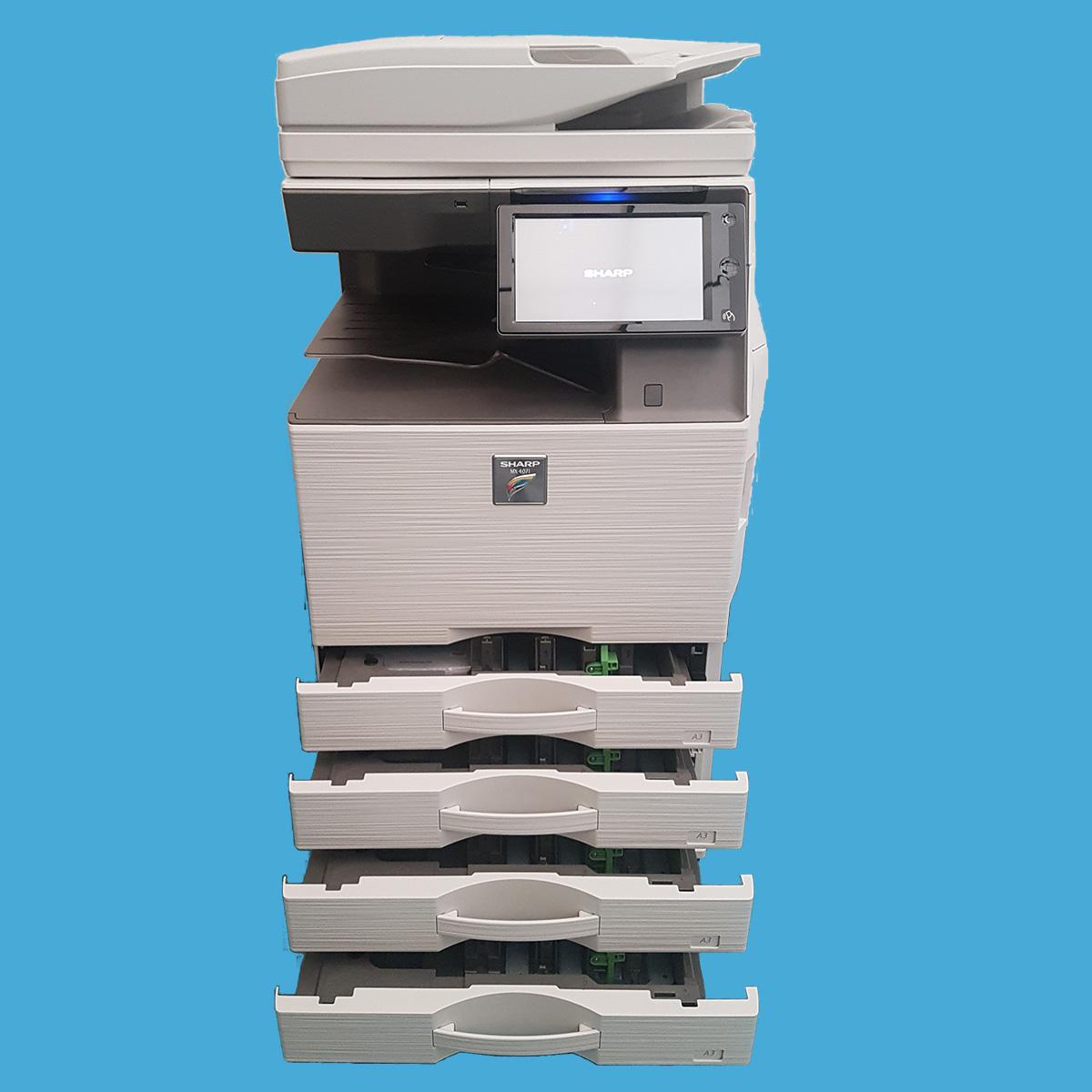 Sharp-MX4071 fronte cassetti aperti - Stampante Multifunzione b-one